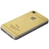 Стекло защитное для iPhone 4S/ 4 Gold 2в1 - Premium Tempered Glass 0.26mm скос кромки 2.5D (зеркальное, 2 стороны) Золото