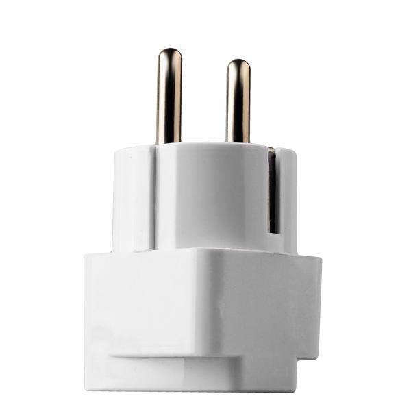 Сетевой переходник в евророзетку (16А / 250V) для всех стандартов вилок, с заземлением, цвет белый