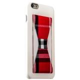 Пластиковый чехол с подставкой для iPhone 6S Plus iBacks Bowknot Series PC Case White/ Tartan, цвет белый