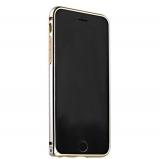Бампер Fashion Case для iPhone 6s Plus/ 6 Plus (5.5) металлический (замок сбоку) серебристый с золотой полоской