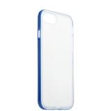 Силиконовый чехол - накладка для iPhone 7 ICSES,цвет прозрачный (синий борт)