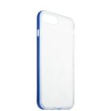 Силиконовый чехол - накладка для iPhone 8 Plus ICSES, цвет прозрачный (синий борт)