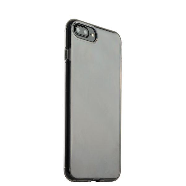Чехол силиконовый для iPhone 8 Plus (5.5) уплотненный в техпаке (прозрачно-чёрный)