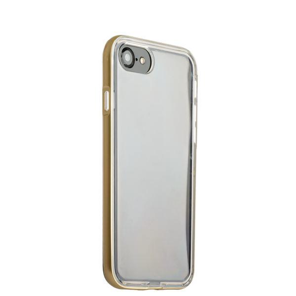 Чехол & бампер силиконовый прозрачный для iPhone 8 (4.7) в техпаке Золотистый борт