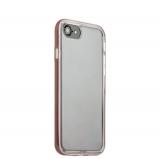 Силиконовый чехол - накладка для iPhone 8 ICSES, цвет прозрачный (борт розовое золото)