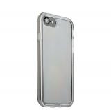Силиконовый чехол - накладка для iPhone 8 ICSES, цвет прозрачный (серебристый борт)