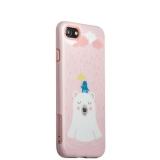 Пластиковый чехол для iPhone 8 iBacks Lady's 2 - piece Suit + зеркальце и гребель с рисунком Сонный медведь, цвет розовый