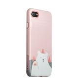 Пластиковый чехол для iPhone 8 iBacks Lady's 2 - piece Suit + зеркальце и гребель с рисунком Приветствие Медведя, цвет розовый