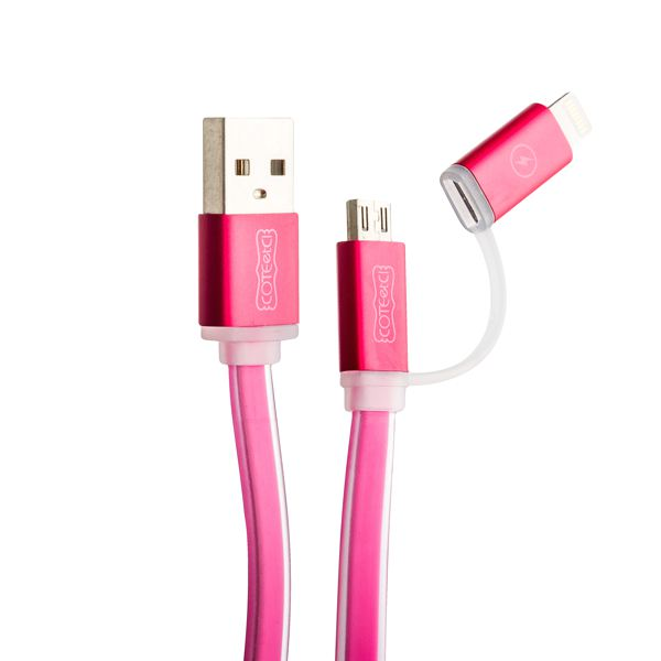 Lightning & microUSB кабель COTEetCI M1 (CS2025 - MR) (2в1) Breathe Light (1.0 м), цвет розовый