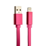 Lightning кабель USB COTEetCI R1 FLAT series MFI + Led CS2026 - PK (1.0 м), цвет розовый