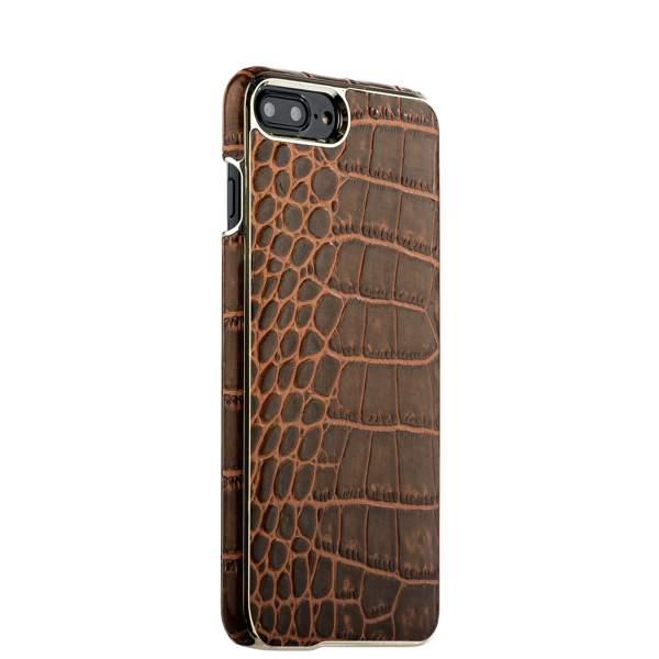 Накладка кожаная XOOMZ для iPhone 8 Plus (5.5) Electroplating Crocodile Embossed Genuine (XIP7010br) Коричневая