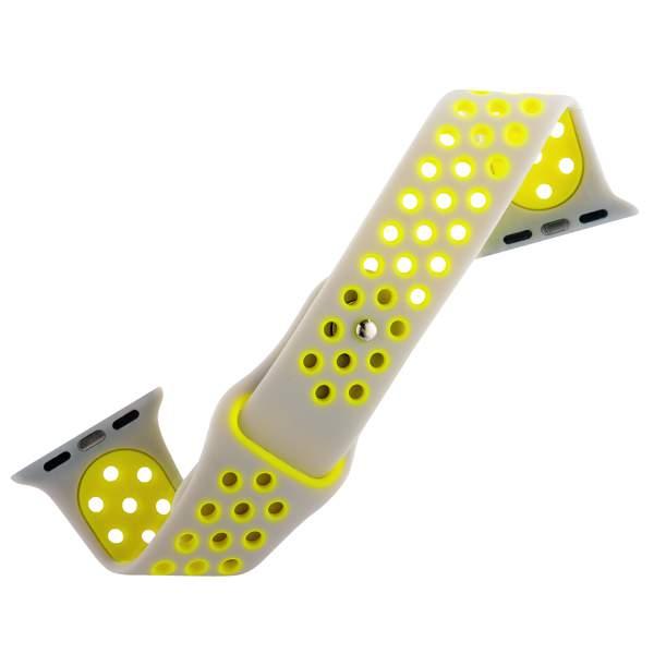 Спортивный ремешок для Apple Watch (44 mm) COTEetCI W12 Sport Band (WH5217 - TS - YL - 42), цвет серебристо - желтый