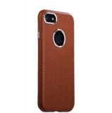 Кожаный чехол - накладка для iPhone 8 iCarer Transformer Real Leather Woven Pattern Back Cove(RIP710br), цвет коричневый