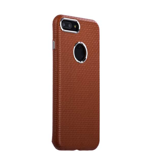 Накладка кожаная i-Carer для iPhone 8 Plus (5.5) Transformer Real Leather Woven Pattern Back Cove (RIP7010br) Коричн.