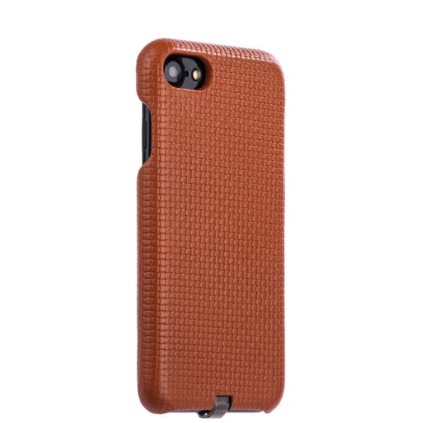 Накладка кожаная i-Carer для iPhone 8 (4.7) Woven Pattern Series Real Leather Charging Connector (RIP711br) Коричневая