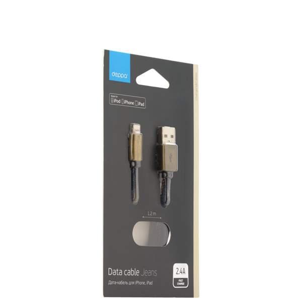 Lightning кабель USB Deppa Jeans D - 72275 MFI 2.4А (1.2 м), цвет джинсовая оплетка