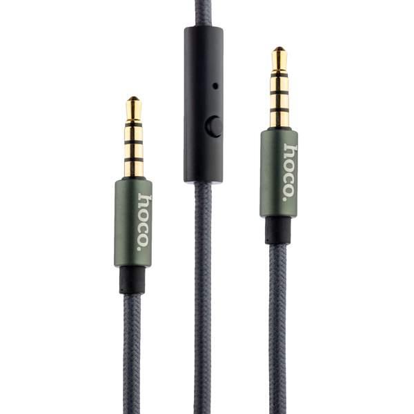 AUX кабель 3.5 мм с микрофоном Hoco UPA04 AUX Noble sound series Audio Cable (with Mic) (1.0 м), цвет Графитовый