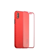 Чехол-накладка карбоновая Coblue 4D Glass & Carbon Case (2в1) для iPhone XS (5.8) Красный