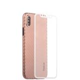 Пластиковый чехол - накладка для iPhone XS Coblue 4D Glass & Carbon Case (2в1), цвет розовый