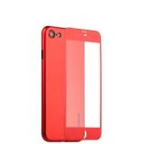 Супертонкий силиконовый чехол - накладка для iPhone 7 Coblue Slim Series PP Case & Glass (2в1),цвет Красный