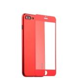 Супертонкий силиконовый чехол - накладка для iPhone 8 Plus Coblue Slim Series PP Case & Glass (2в1), цвет красный