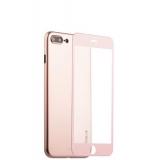 Супертонкий силиконовый чехол - накладка для iPhone 7 Plus Coblue Slim Series PP Case & Glass (2в1), цвет розовый