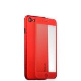 Пластиковый чехол - накладка для iPhone 8 Coblue 4D Glass & Carbon Case (2в1), цвет красный
