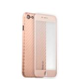 Пластиковый чехол - накладка для iPhone 8 Coblue 4D Glass & Carbon Case (2в1), цвет розовый
