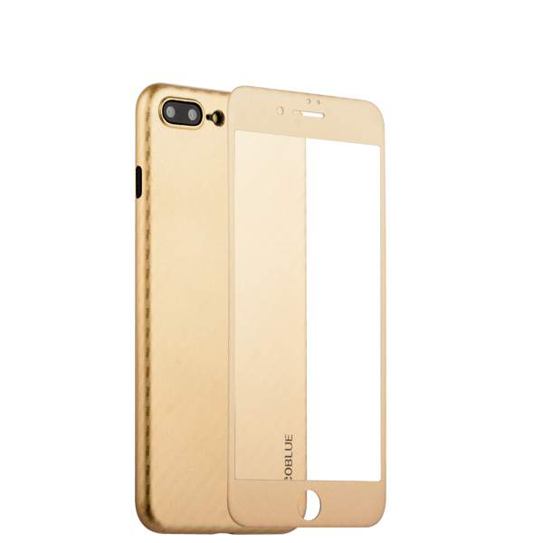Чехол-накладка карбоновая Coblue 4D Glass & Carbon Case (2в1) для iPhone 8 Plus (5.5) Золотистый