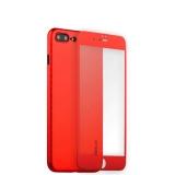 Пластиковый чехол - накладка для iPhone 7 Plus Coblue 4D Glass & Carbon Case (2в1), цвет красный