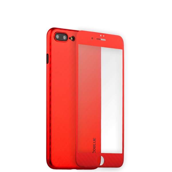 Чехол-накладка карбоновая Coblue 4D Glass & Carbon Case (2в1) для iPhone 7 Plus (5.5) Красный