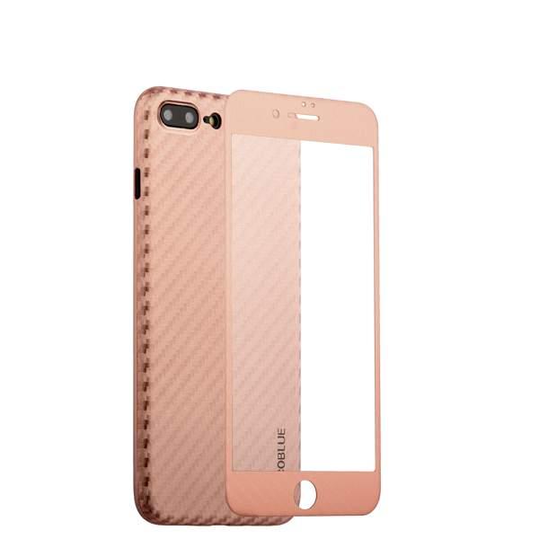 Чехол-накладка карбоновая Coblue 4D Glass & Carbon Case (2в1) для iPhone 8 Plus (5.5) Розовый