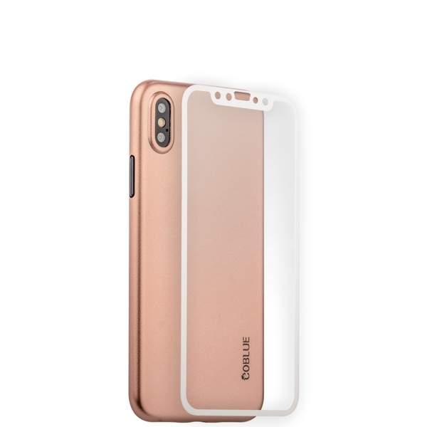 Чехол-накладка супертонкая Coblue Slim Series PP Case & Glass (2в1) для iPhone X (5.8) Розовый