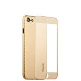 Пластиковый чехол - накладка для iPhone 8 Coblue 4D Glass & Carbon Case (2в1), цвет золотистый