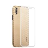 Пластиковый чехол - накладка для iPhone XS Coblue 4D Glass & Carbon Case (2в1), цвет золотистый