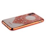 Силиконовый чехол - накладка для iPhone XS Beckberg Monsoon series со стразами Swarovski (вид 2), цвет розовое золото