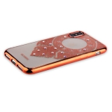 Накладка силиконовая Beckberg Monsoon series для iPhone X (5.8) со стразами Swarovski вид 2 Розовое золото