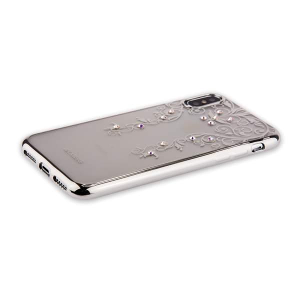 Накладка силиконовая Beckberg Monsoon series для iPhone X (5.8) со стразами Swarovski вид 3 Серебристый