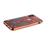 Силиконовый чехол - накладка для iPhone XS Beckberg Monsoon series со стразами Swarovski (вид 4), цвет розовое золото