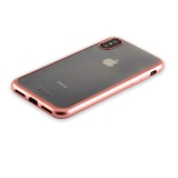 Силиконовый чехол - накладка для iPhone XS Deppa Gel Plus Case D - 85338 (0.9 мм), цвет розовое золото / матовый борт