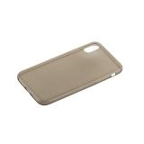 Чехол силиконовый для iPhone X (5.8) супертонкий в техпаке (прозрачно-чёрный)