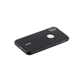 Чехол-накладка силиконовый Cherry матовый 0.4mm & пленка для iPhone XS (5.8) Черный
