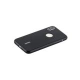 Чехол-накладка силиконовый Cherry матовый 0.4mm & пленка для iPhone X (5.8) Черный