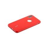 Чехол-накладка силиконовый Cherry матовый 0.4mm & пленка для iPhone XS (5.8) Красный