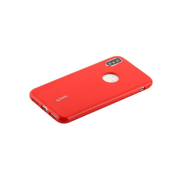 Чехол-накладка силиконовый Cherry матовый 0.4mm & пленка для iPhone X (5.8) Красный