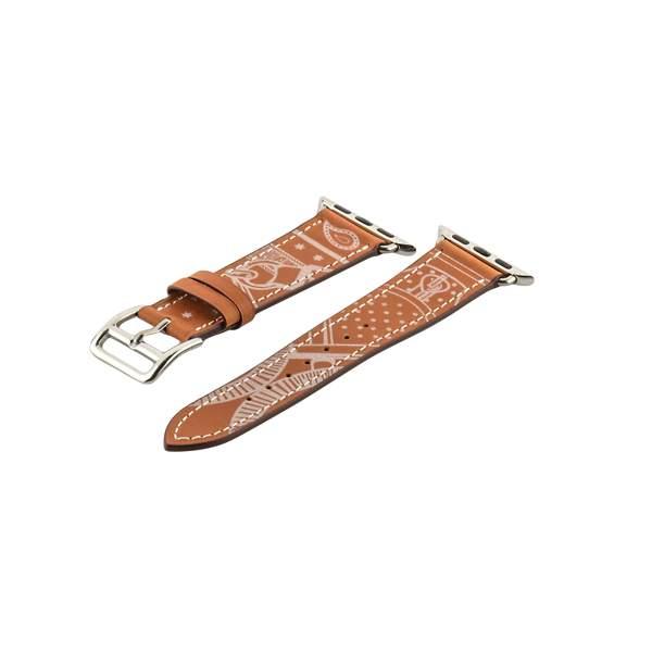 Ремешок кожаный COTEetCI W13 Fashion LEATHER (WH5218-KR-38) для Apple Watch 38 мм Коричнево-белый