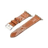 Ремешок кожаный COTEetCI W13 Fashion LEATHER (WH5219-KR-42) для Apple Watch 44 мм Коричнево-белый