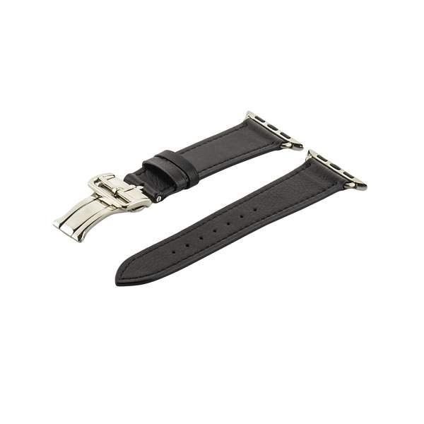Ремешок кожаный COTEetCI W16 Fashion LEATHER застёжка «бабочка» (WH5222-BK-38) для Apple Watch 40 мм Черный