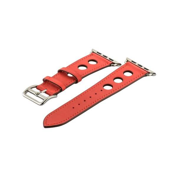 Ремешок кожаный COTEetCI W15 Fashion LEATHER с отверствиями (WH5221-RD-42) для Apple Watch 44 мм Красный
