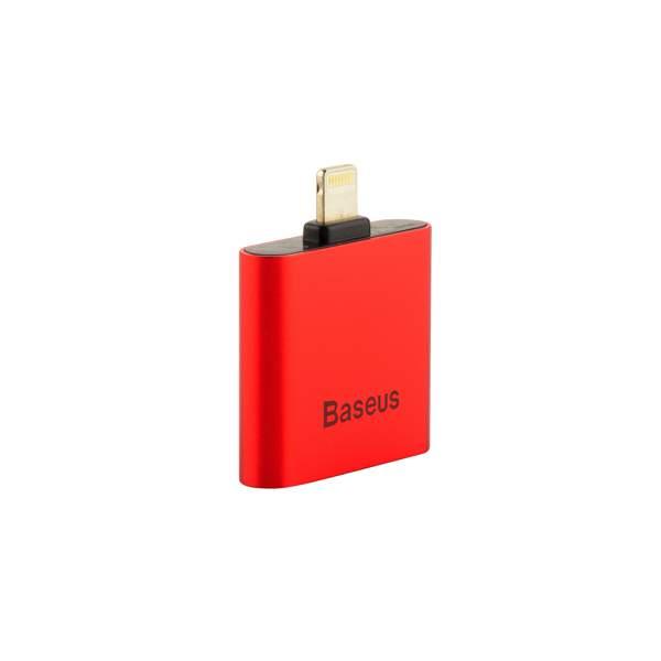 Аудио - переходник Lightning - AUX 3.5 мм jack Baseus L39 IP To Double IP Socket Adapter (2 порта Lightning), цвет красный